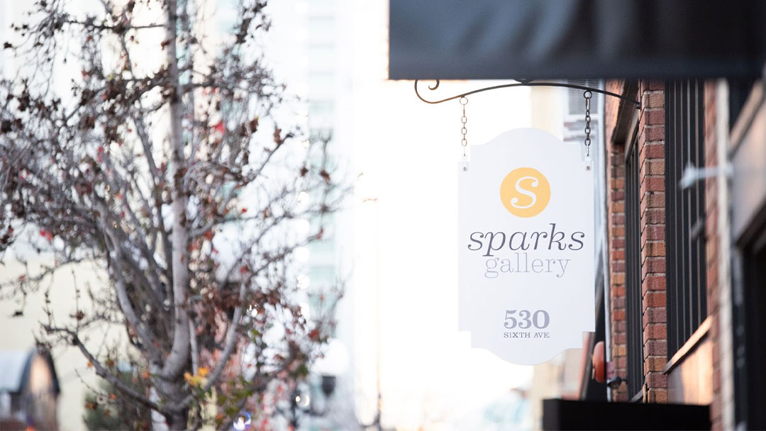 Sparks Gallery Sign in Fall