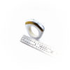 Porcelain Ring with Light Blue and Gold Line Trim