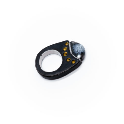 Porcelain Ring with Gold Dots and Blue Top