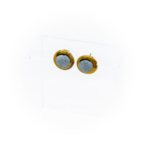 Porcelain Stud Earring with Gold Luster (Turquoise)
